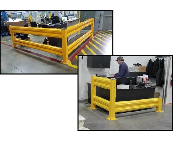WAREHOUSE SAFETY GUARD RAIL SYSTEM